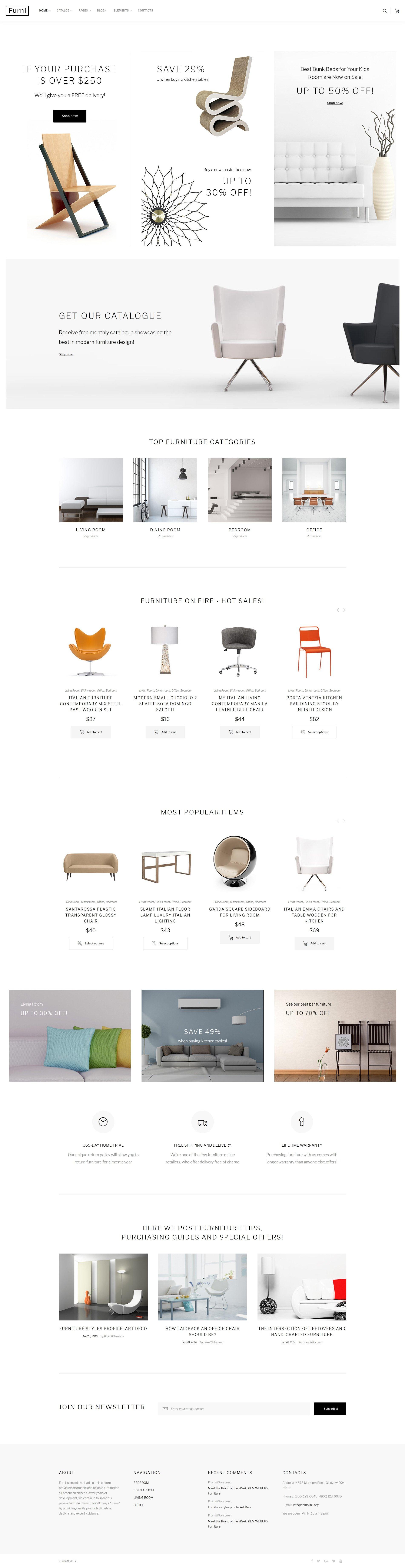 Reszponzív Furni - egy többoldalas bútorbolt Weboldal sablon 62272