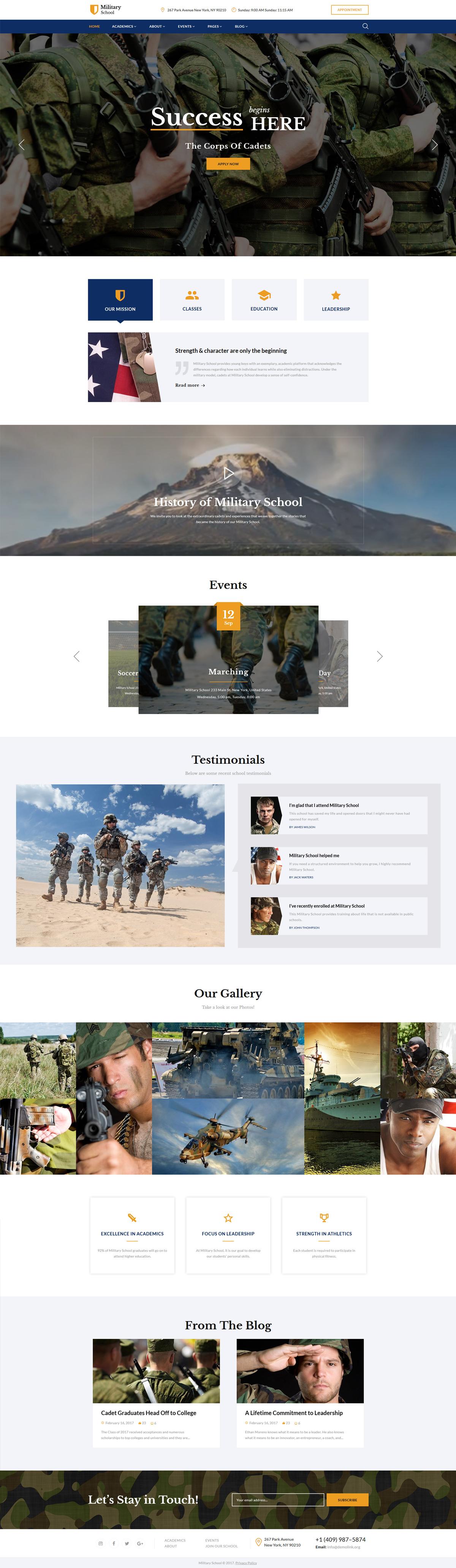 Reszponzív Military School Multipage Weboldal sablon 62245