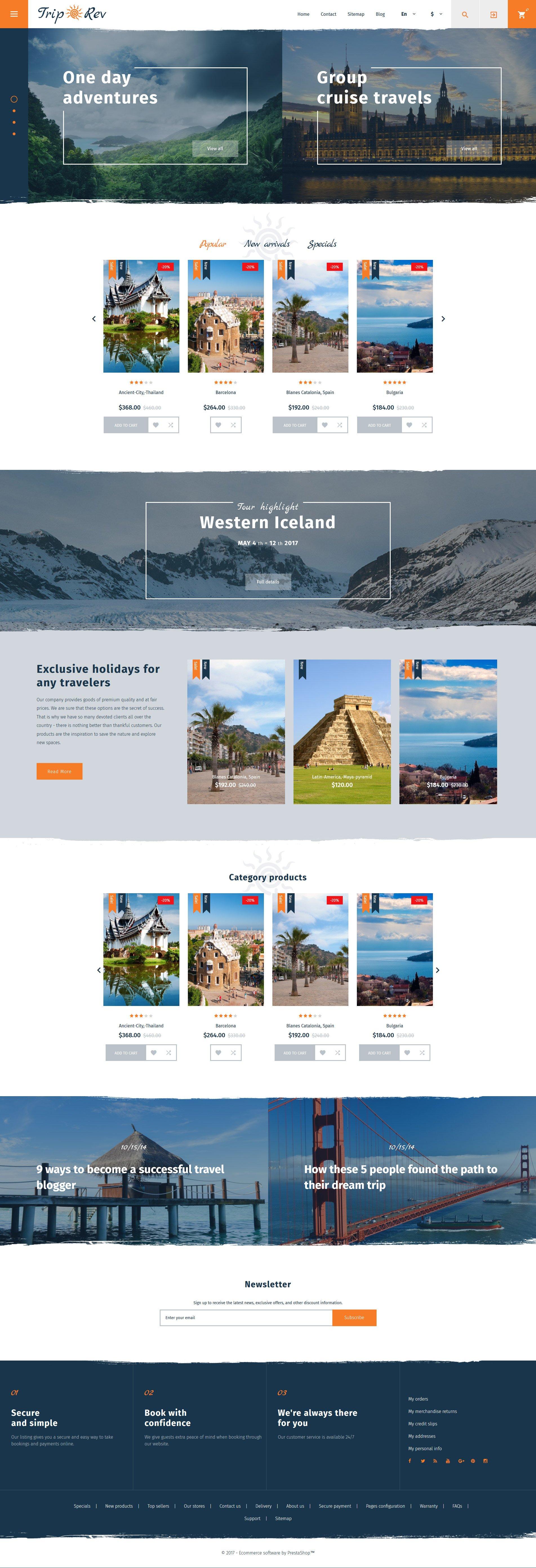 Reszponzív TripRev - Travel Responsive PrestaShop sablon 62261 - képernyőkép
