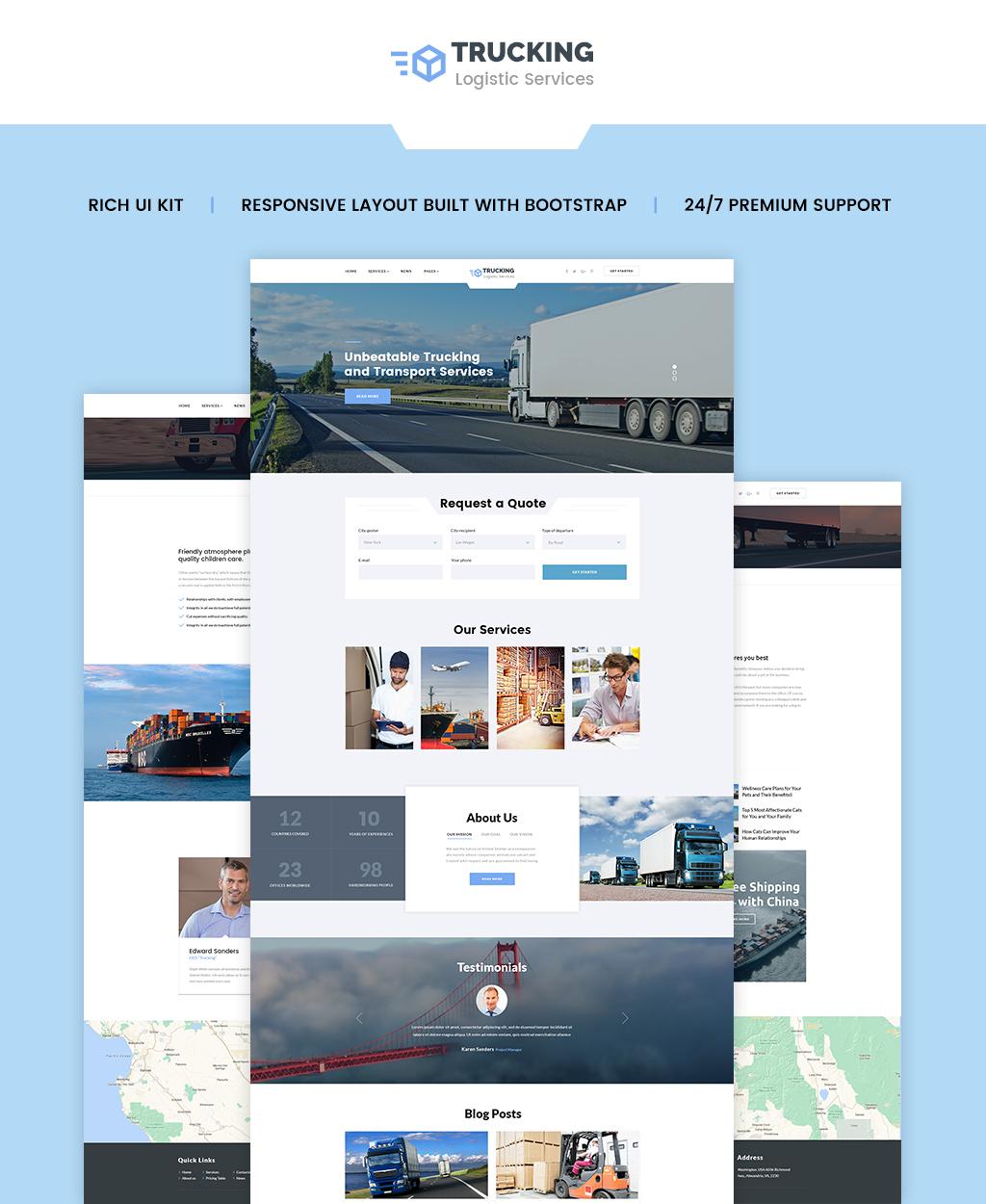 Reszponzív Trucking - Logistics & Transportation Services HTML Weboldal sablon 62264 - képernyőkép