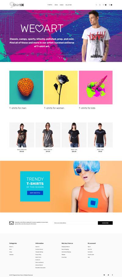 Thème Magento adaptatif  pour magasin de T-shirts