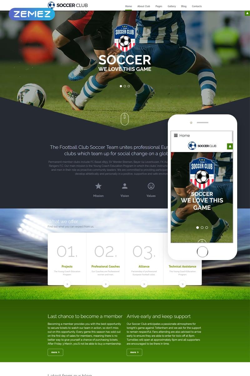 """Soccer - Soccer Club Responsive"" Responsive Joomla Template №62266"