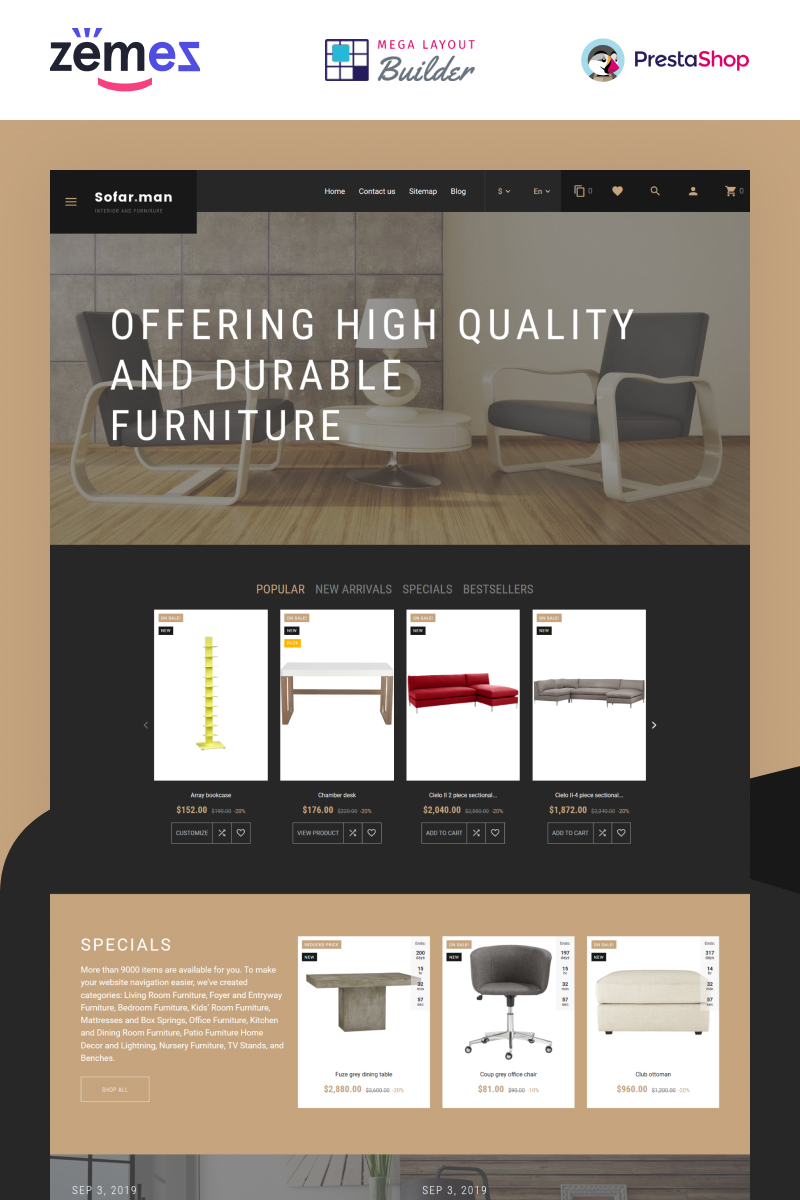 """Sofarman - Interior Design Furniture Template"" - адаптивний PrestaShop шаблон №62223"