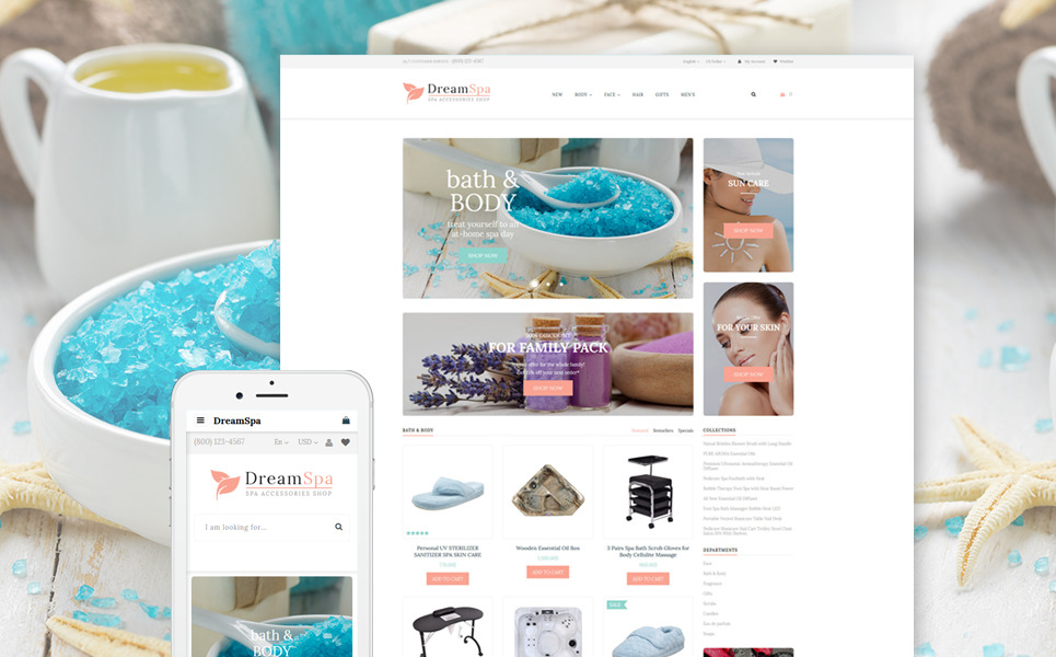 Spa Accessories Responsive OpenCart Template New Screenshots BIG