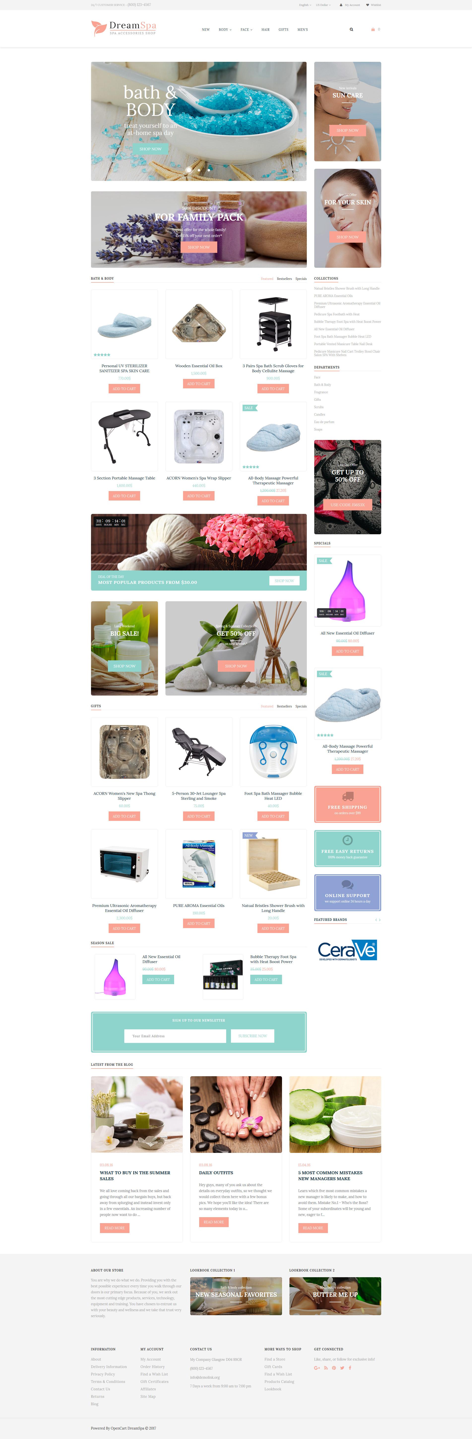 Spa Accessories Responsive OpenCart Template - screenshot