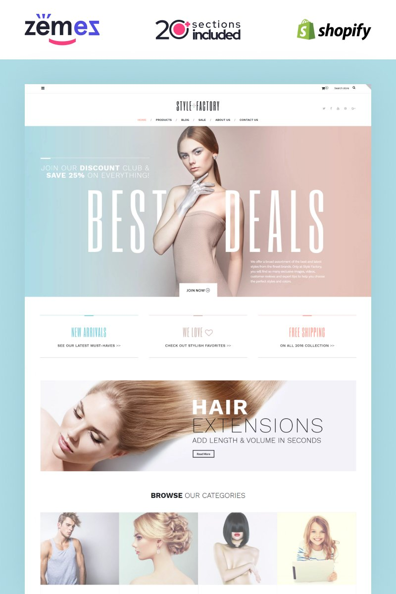 """Style Factory - Hair Care & Hair Styling Responsive"" thème Shopify adaptatif #62235"