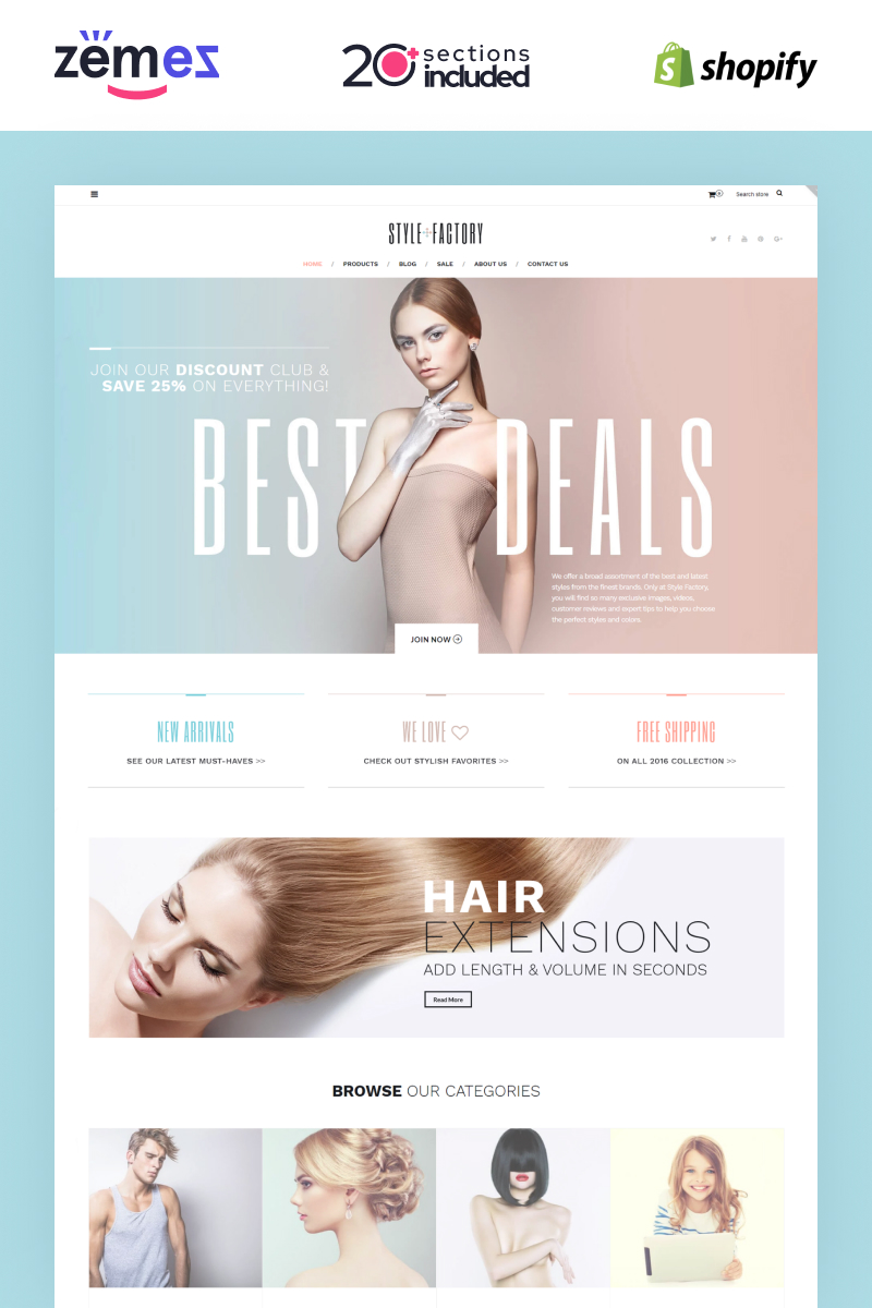 """Style Factory - Hair Care & Hair Styling Responsive"" 响应式Shopify模板 #62235"