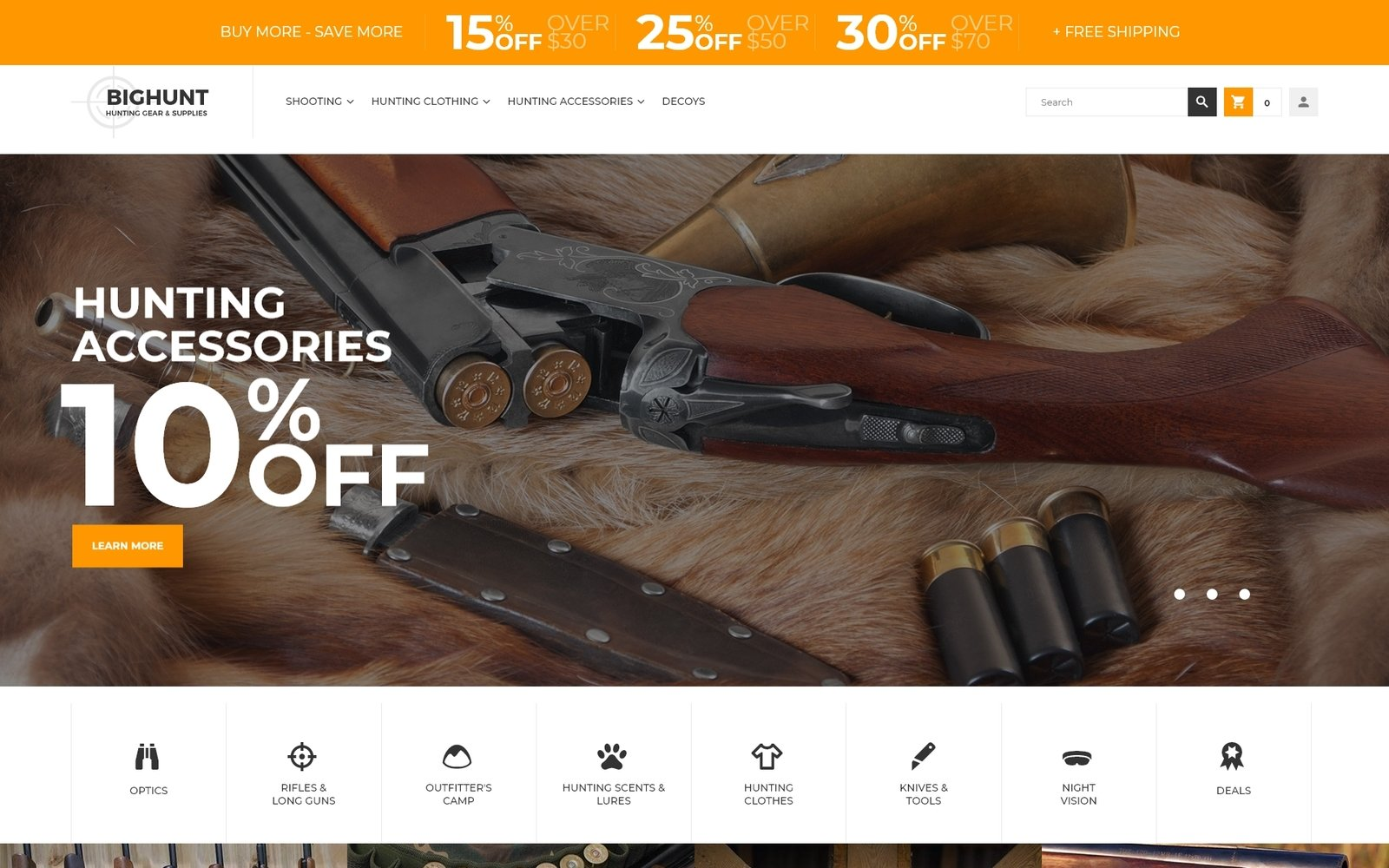 "Tema Magento ""BigHunt - Hunting Gear Store Template"" #62287"