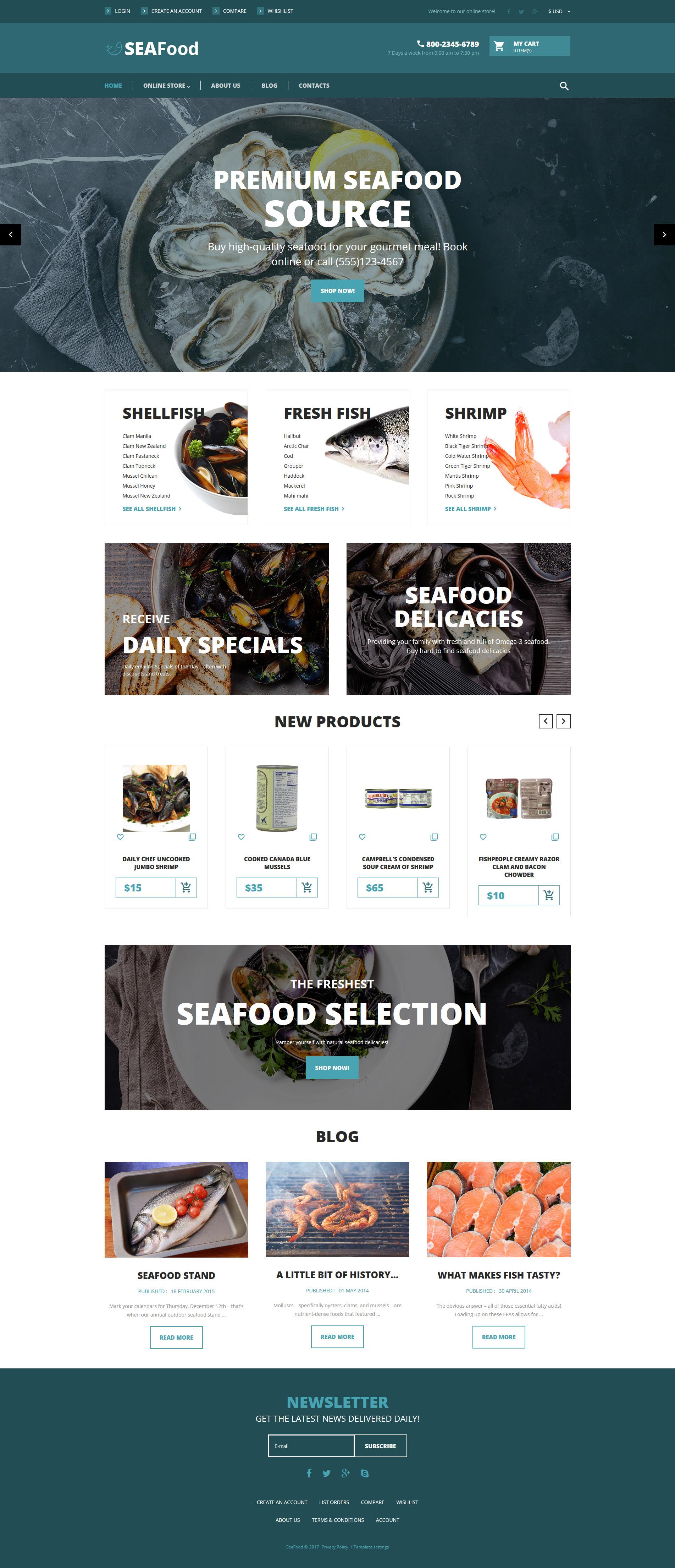 """VirtueMart šablona """"SeaFood - The Best Seafood Delicacies"""" #62204"""