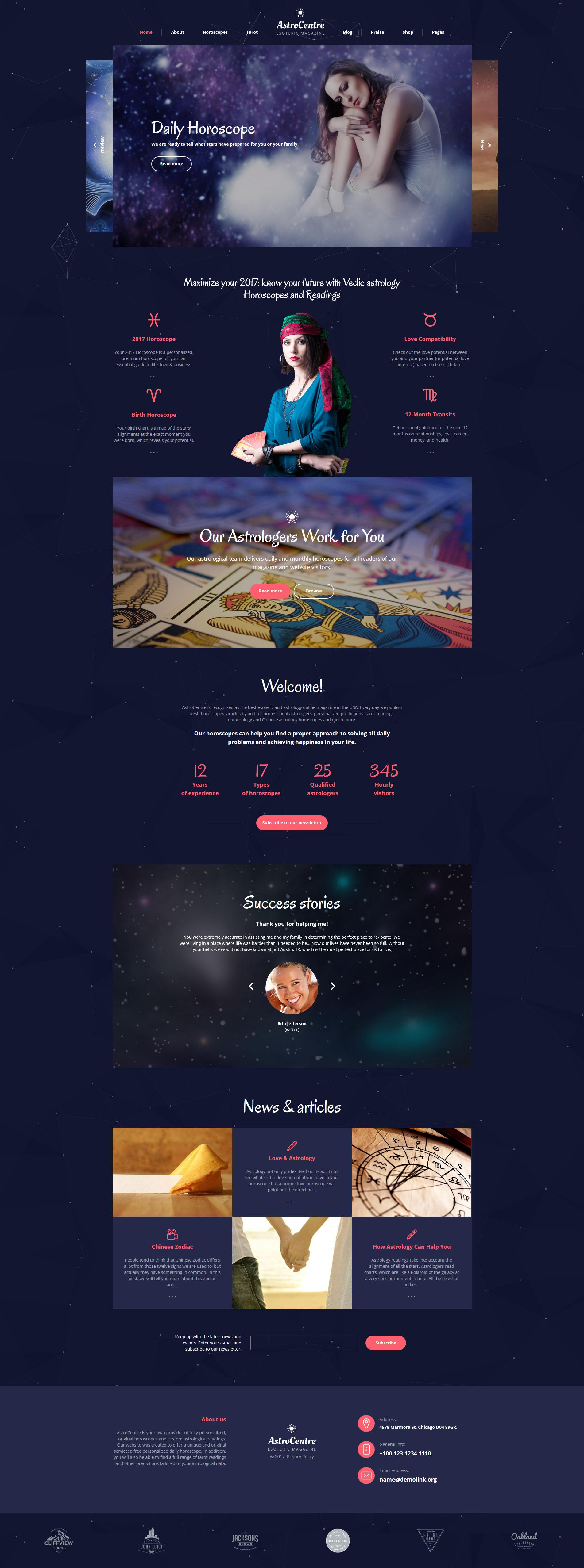 """Website Vorlage namens """"AstroCentre - Astrology Multipage"""" #62237"""