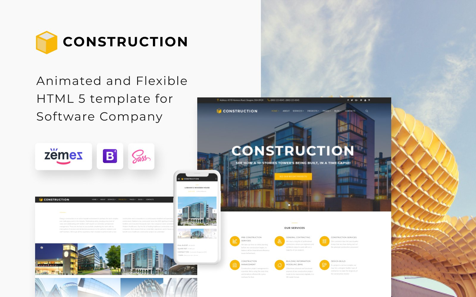 "Website Vorlage namens ""Construction - Construction Company Responsive Multipage"" #62269"