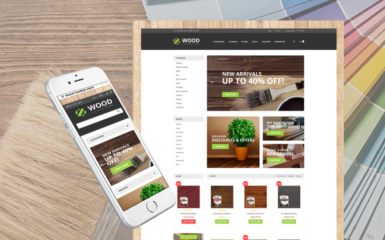 Wood Finishes Responsive OpenCart Template New Screenshots BIG