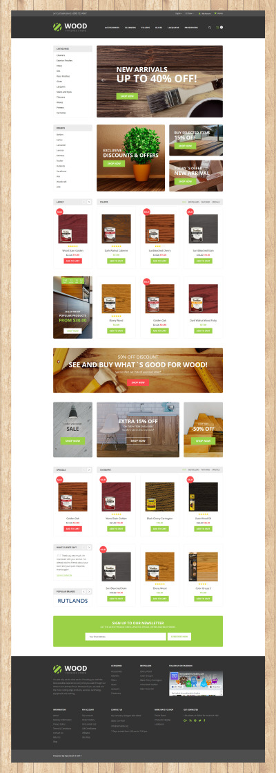 Wood Finishes Responsive OpenCart Template #62201