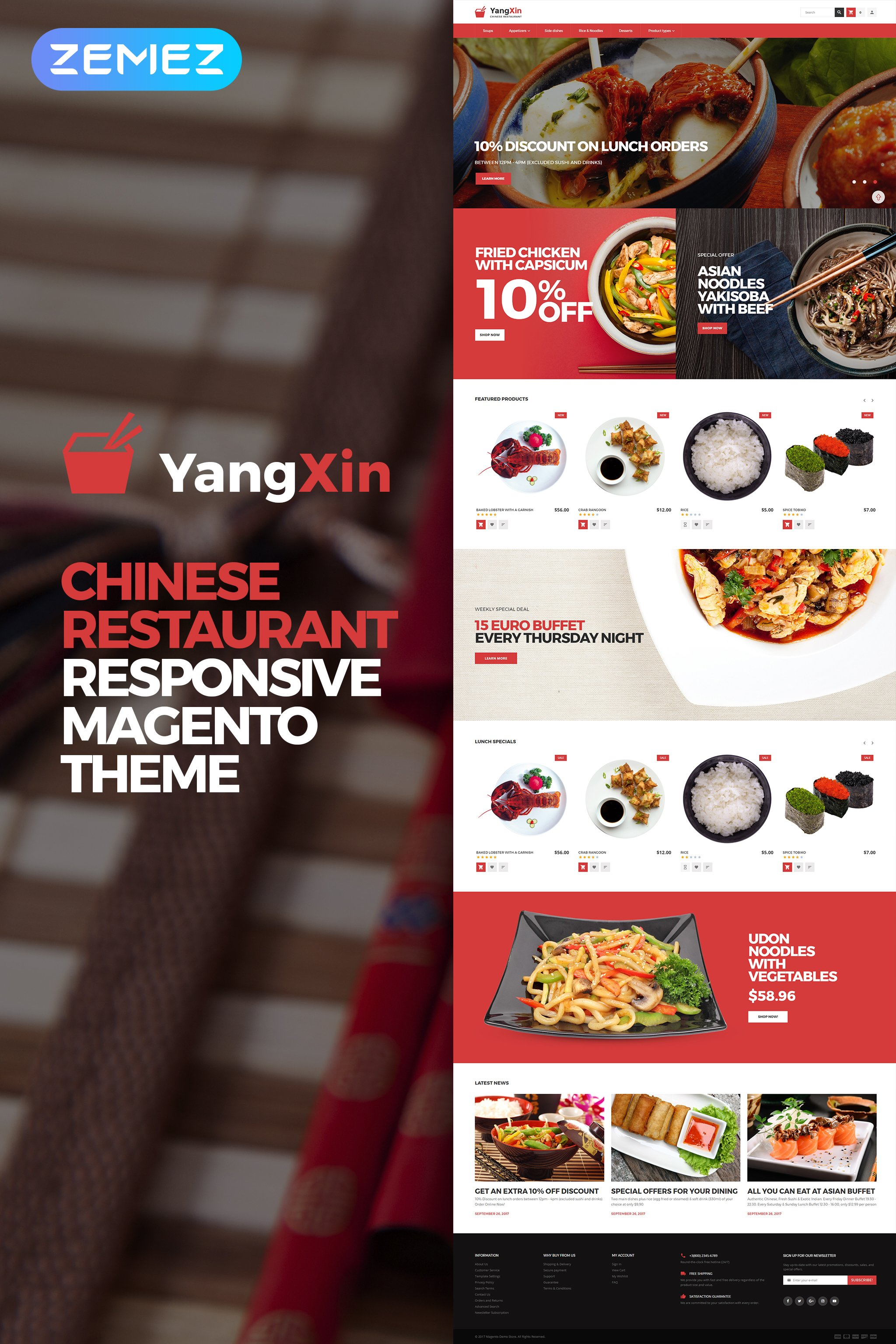"""YangXin - Restaurant chinois"" thème Magento  #62289"