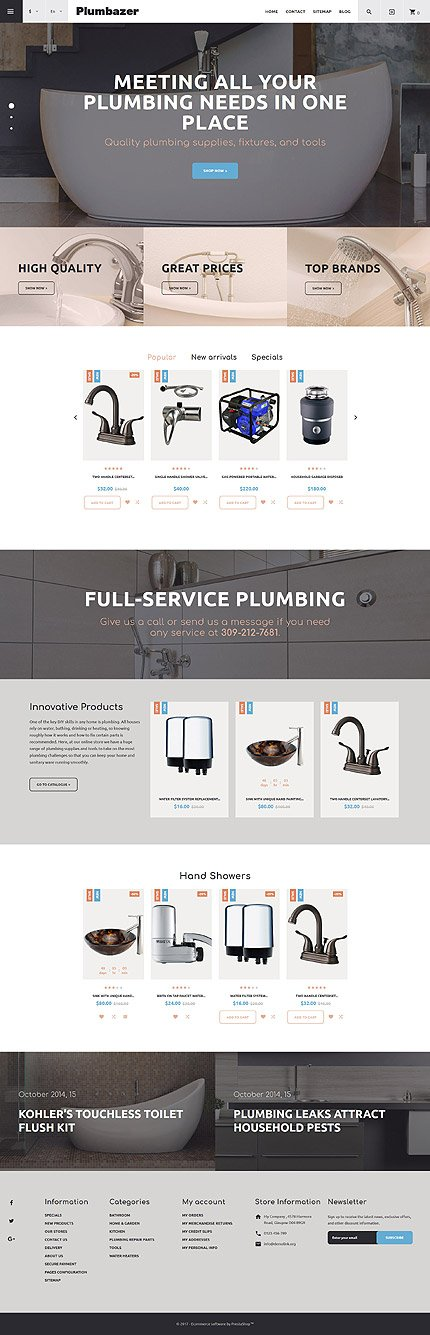 Custom Website Design Template #62302 -  plumbaser plumbing supplies company drain heating