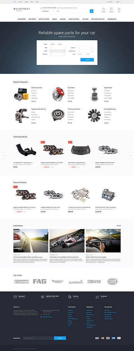 Custom Website Design Template #62342 -  everprest spare parts shop car spares