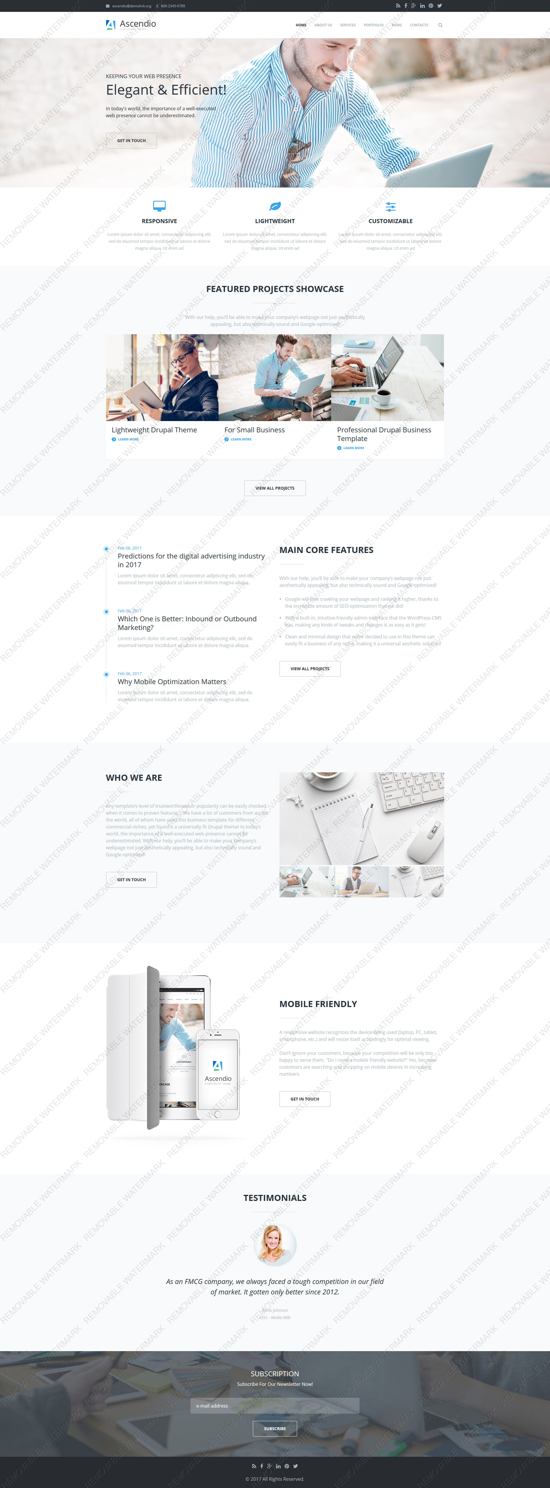 Custom Website Design Template #62376 -  ascendio theme corporate drupal business modern