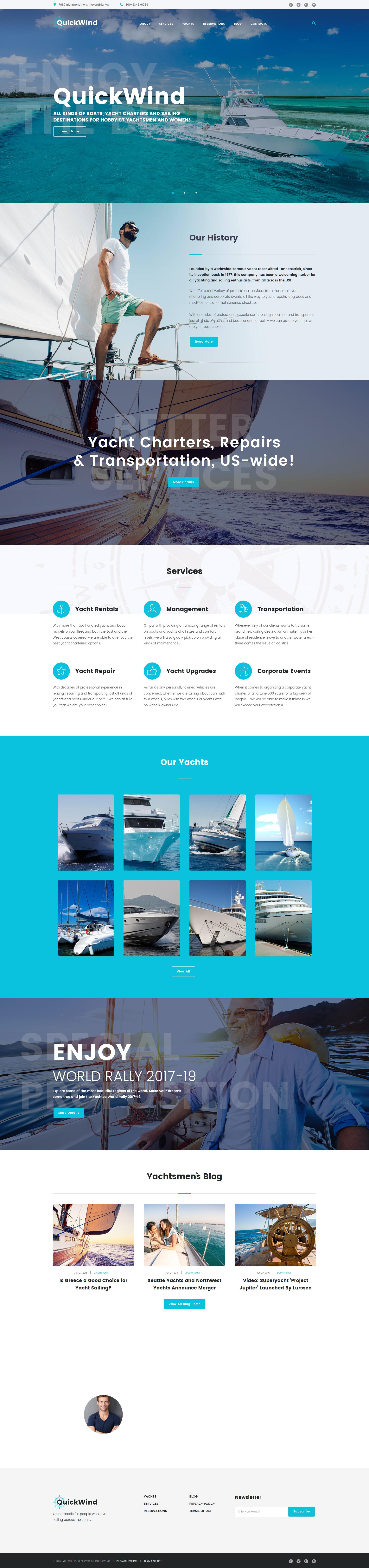 Адаптивный шаблон сайта на тему яхтинг #62365