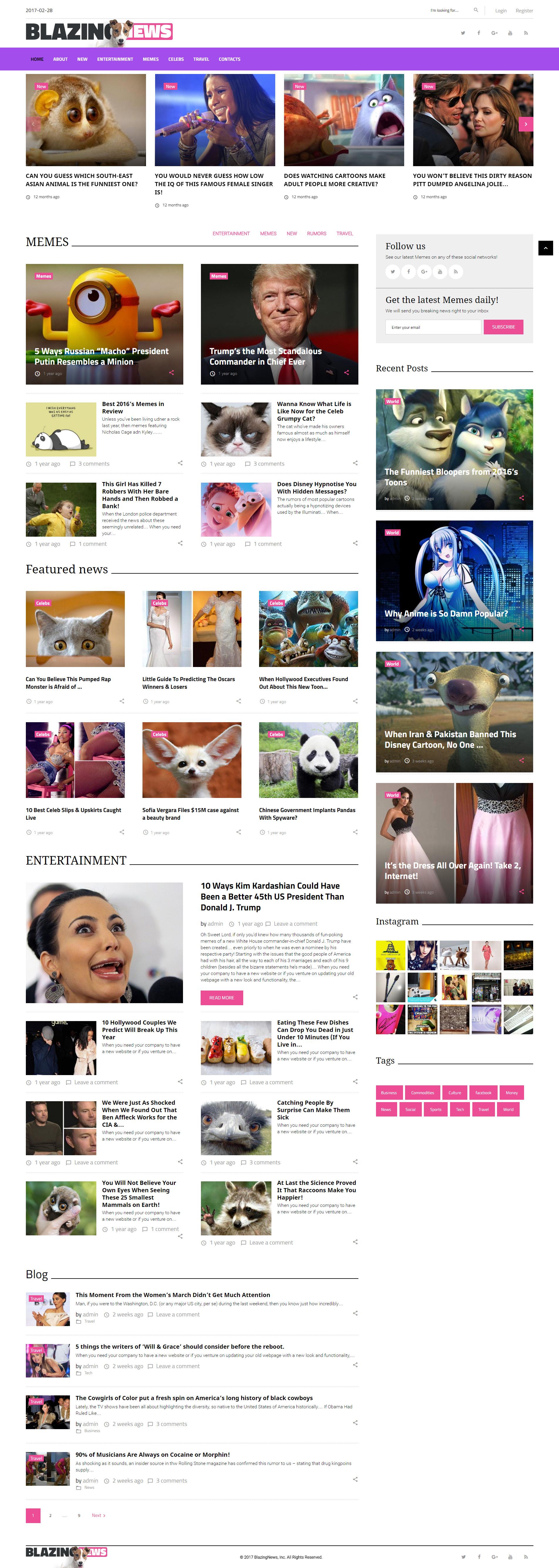 """BlazingNews - News Magazine Responsive"" 响应式WordPress模板 #62382"