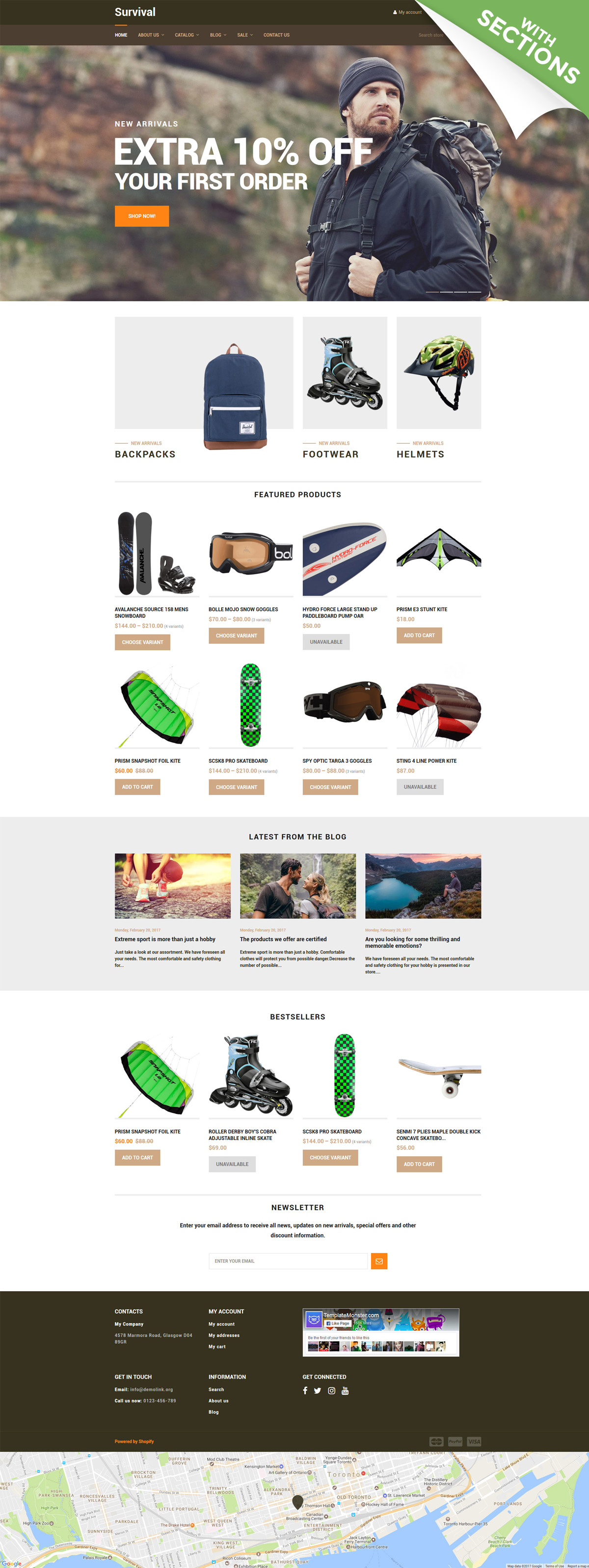 Bootstrap szablon Shopify Survival - Travel Equipment #62383