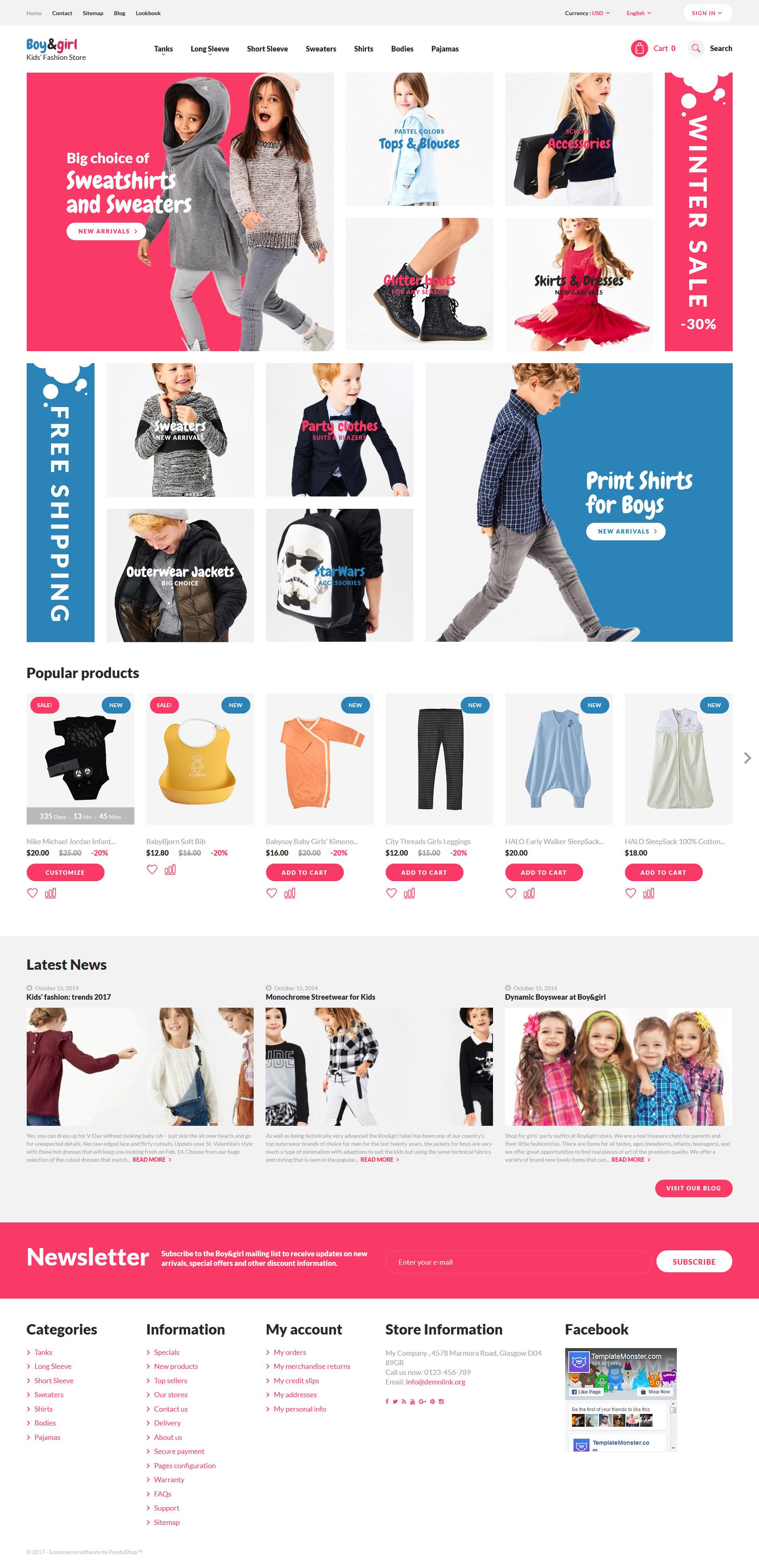 """Boy&Girl - Kids Fashion Responsive"" 响应式PrestaShop模板 #62378 - 截图"