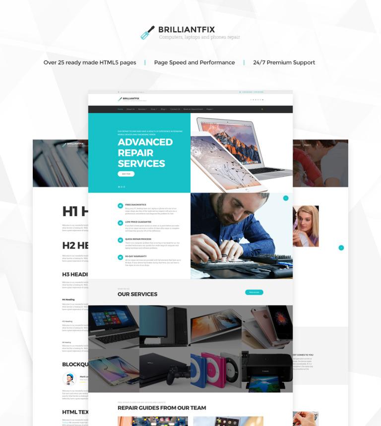 Brilliantfix Service Center Website Template New Screenshots