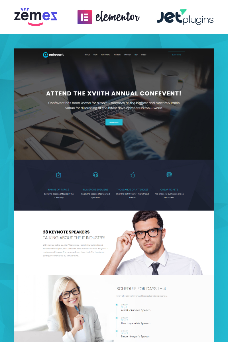 Confevent - Event Landing Page Tema WordPress №62307 - captura de tela