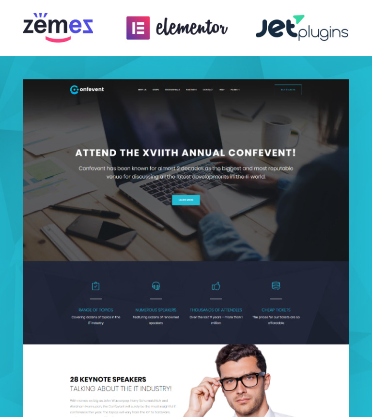 Conference Event Landing Page WordPress Theme - Wordpress landing page template