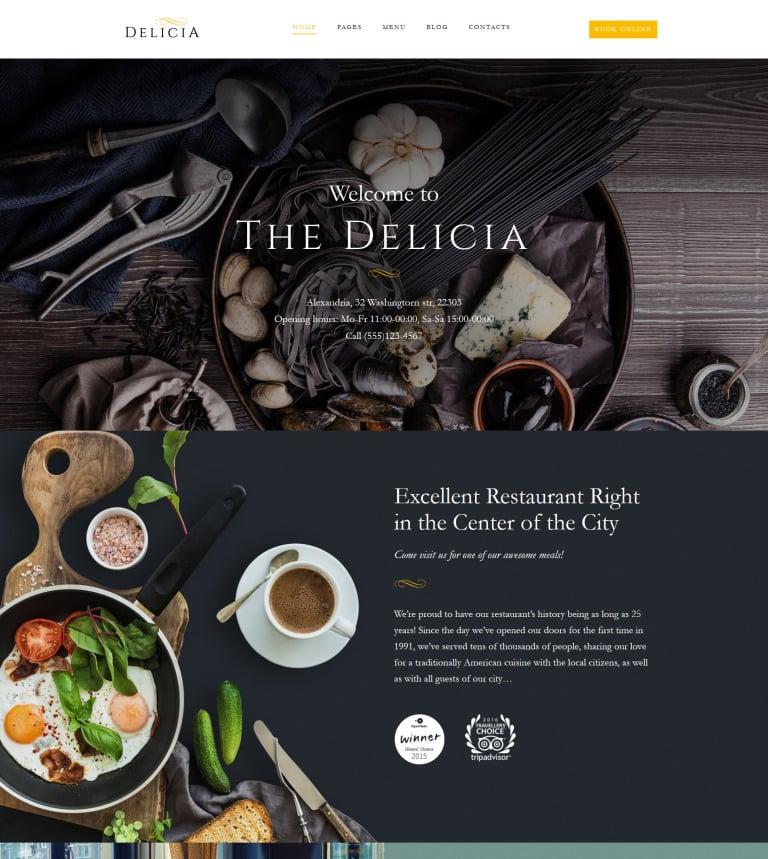 Delicia - Restaurant Responsive WordPress Theme