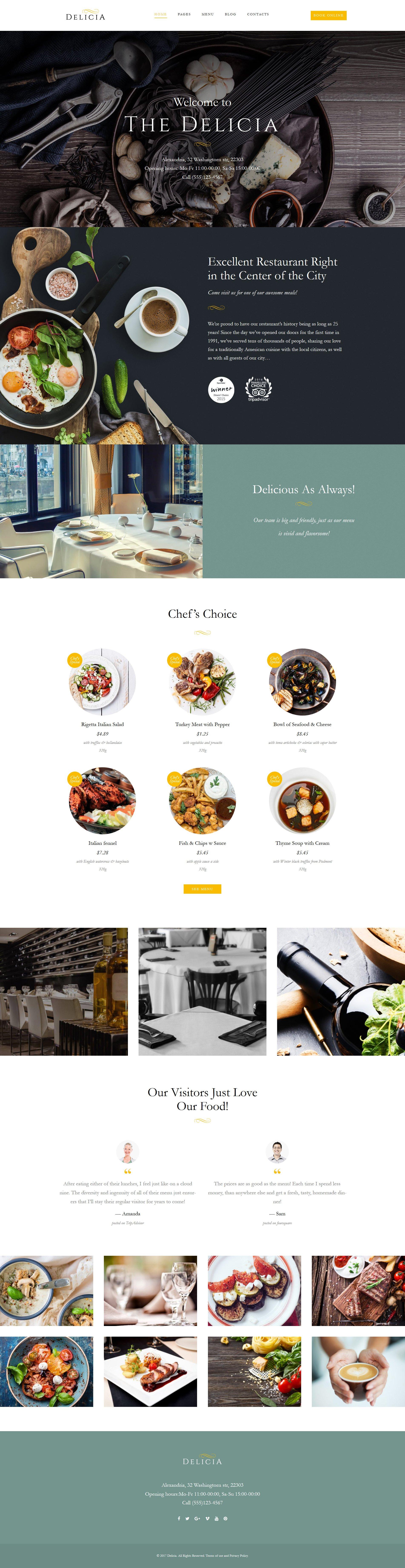 """Delicia - Restaurant Responsive"" 响应式WordPress模板 #62386"