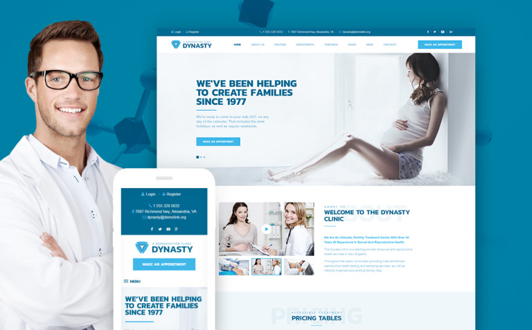 Dynasty - Reproduction Clinic Responsive WordPress Theme New Screenshots BIG