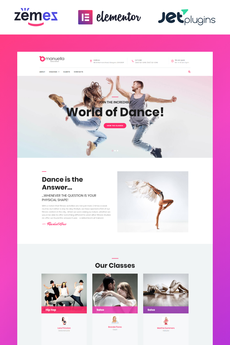 """Emanuella - Dance School Responsive"" - адаптивний WordPress шаблон №62312"