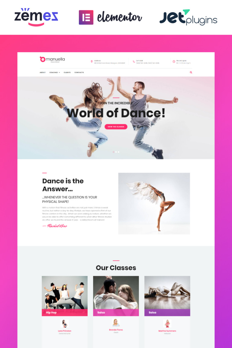 Emanuella - Dance School Responsive WordPress Theme New Screenshots BIG