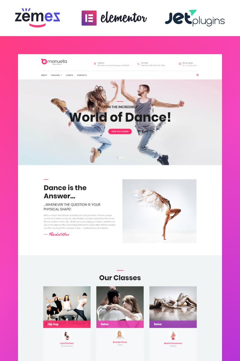 """Emanuella - Dance School Responsive"" 响应式WordPress模板 #62312"