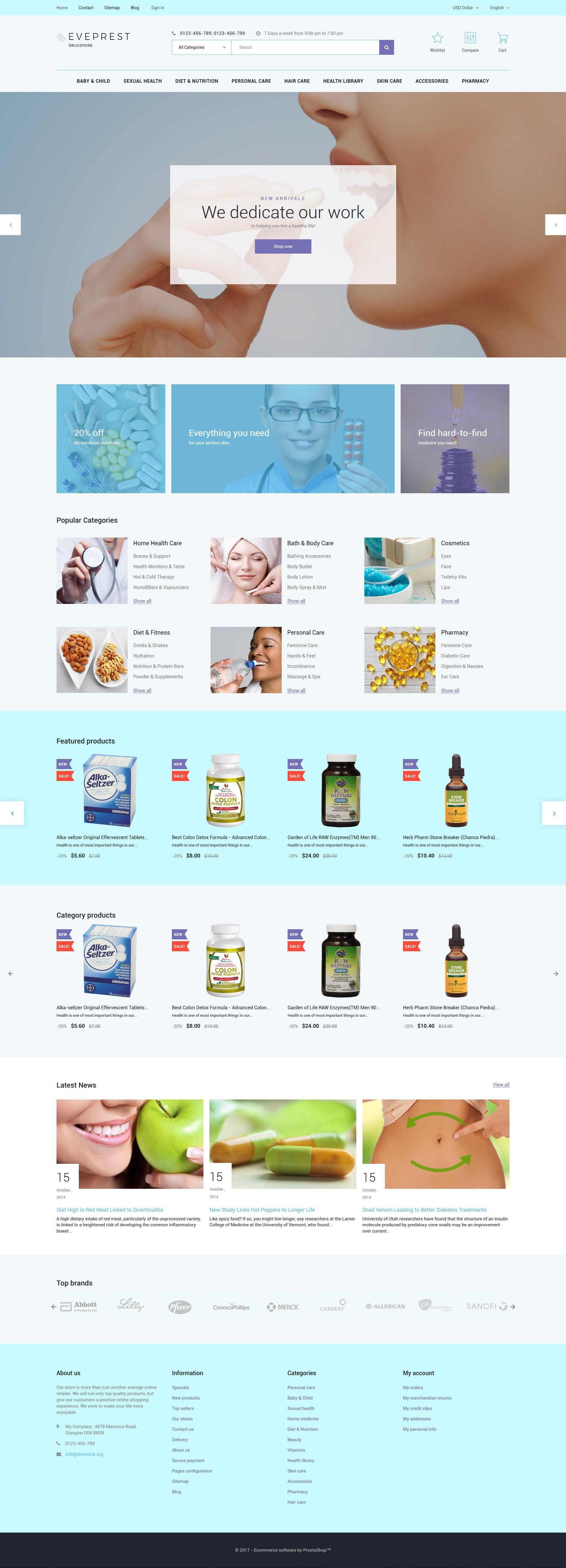 """Eveprest - Drugstore"" - адаптивний PrestaShop шаблон №62336"