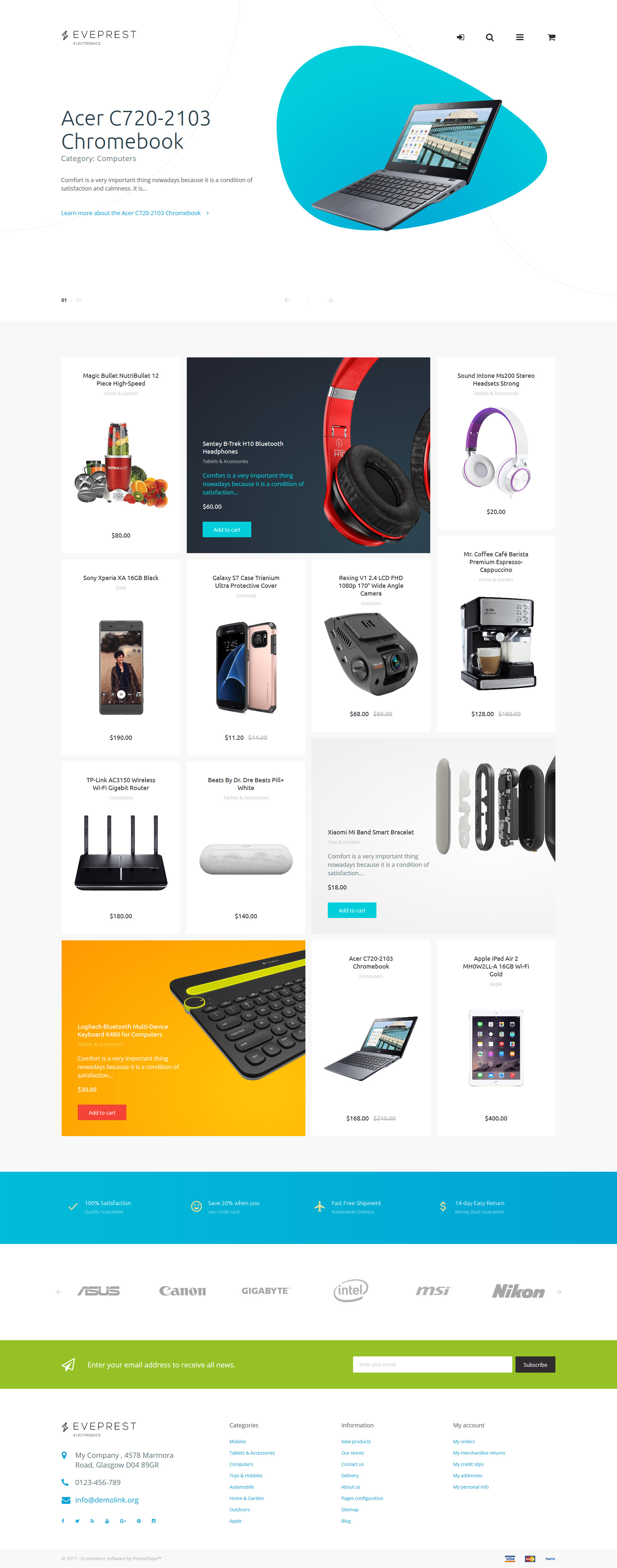 """Eveprest - Electronics"" 响应式PrestaShop模板 #62337 - 截图"