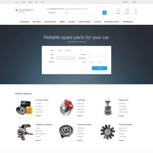 Eveprest - PrestaShop Spare Parts Template