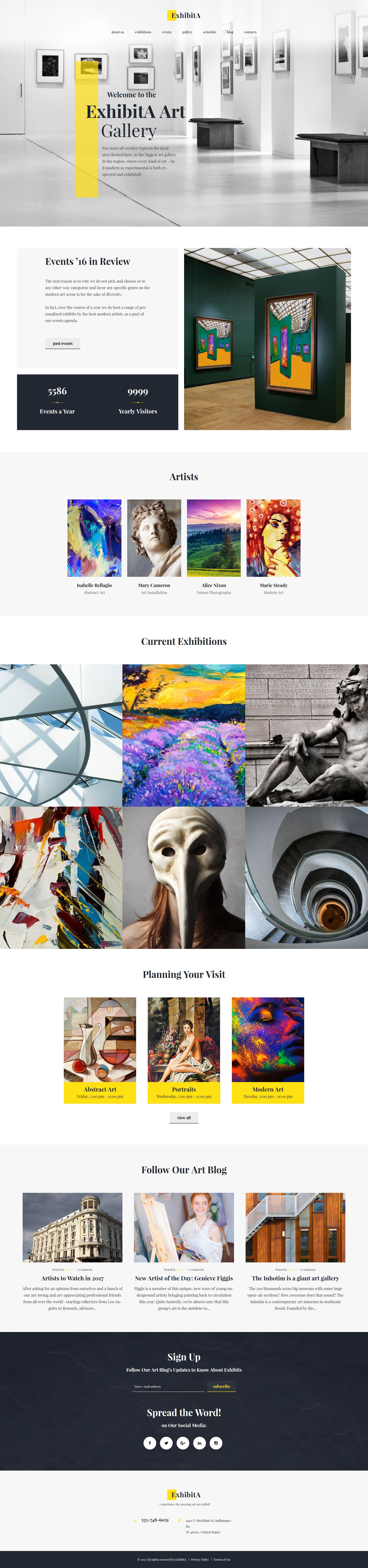 """ExhibitA - Art Gallery Responsive"" - адаптивний WordPress шаблон №62373 - скріншот"