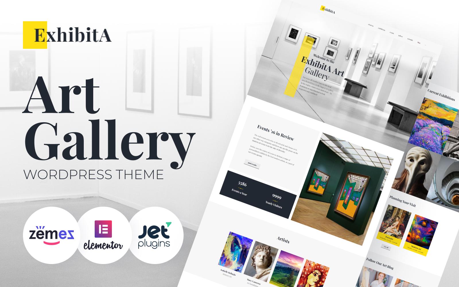 """ExhibitA - Art Gallery Responsive"" 响应式WordPress模板 #62373"