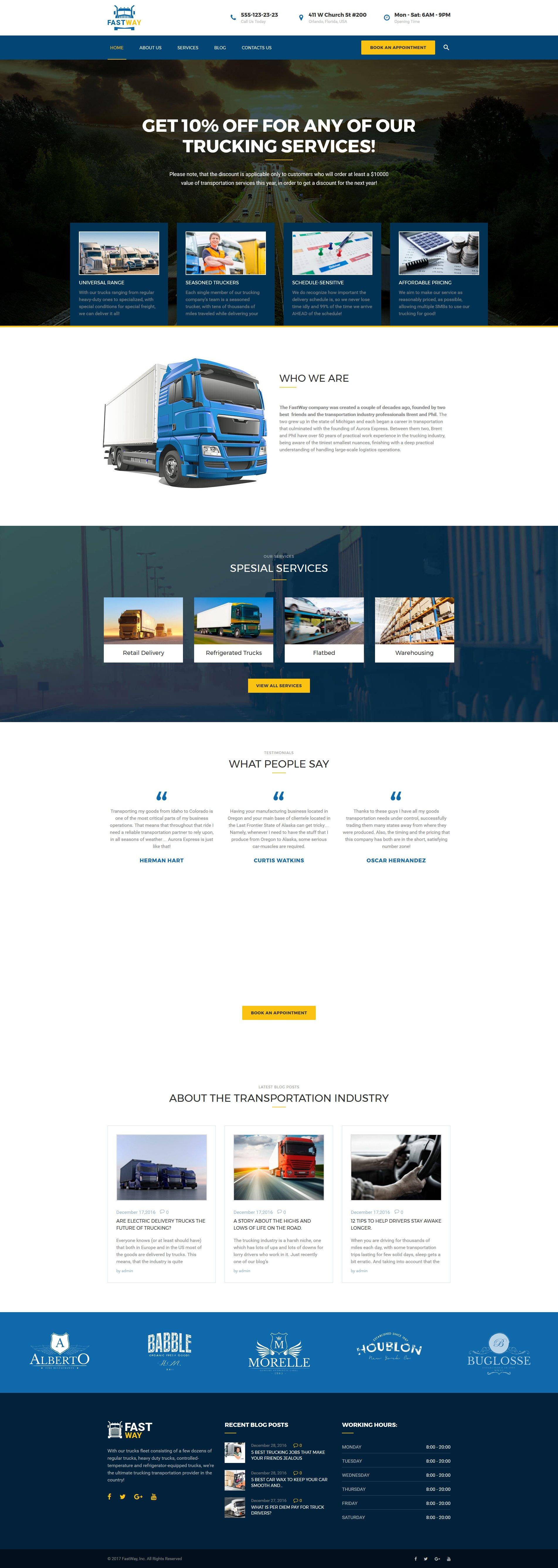 FastWay - Transportation Company Responsive WordPress Theme - screenshot