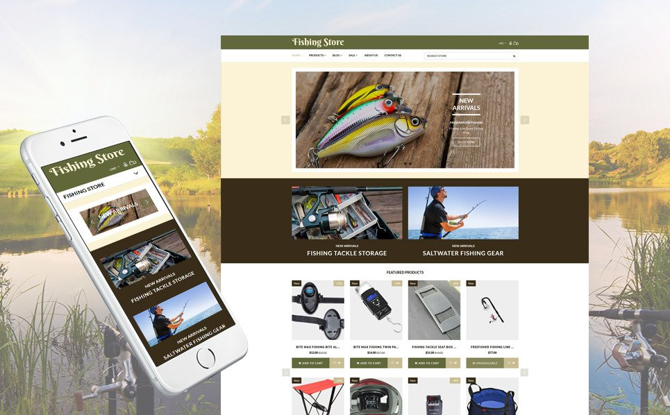 Fishing supplies equipment shopify template for Fishing equipment stores