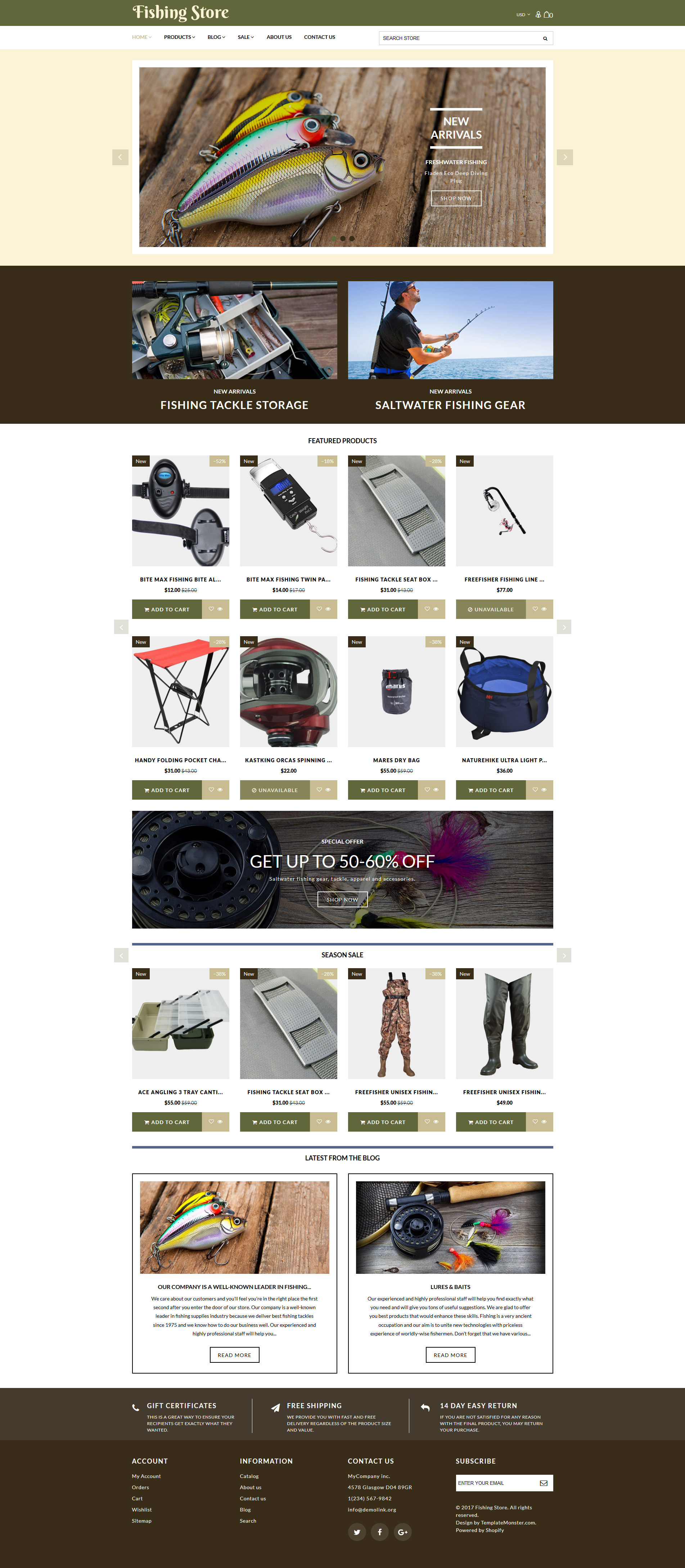 Fishing Store - Fishing Supplies & Equipment Shopify Theme - screenshot