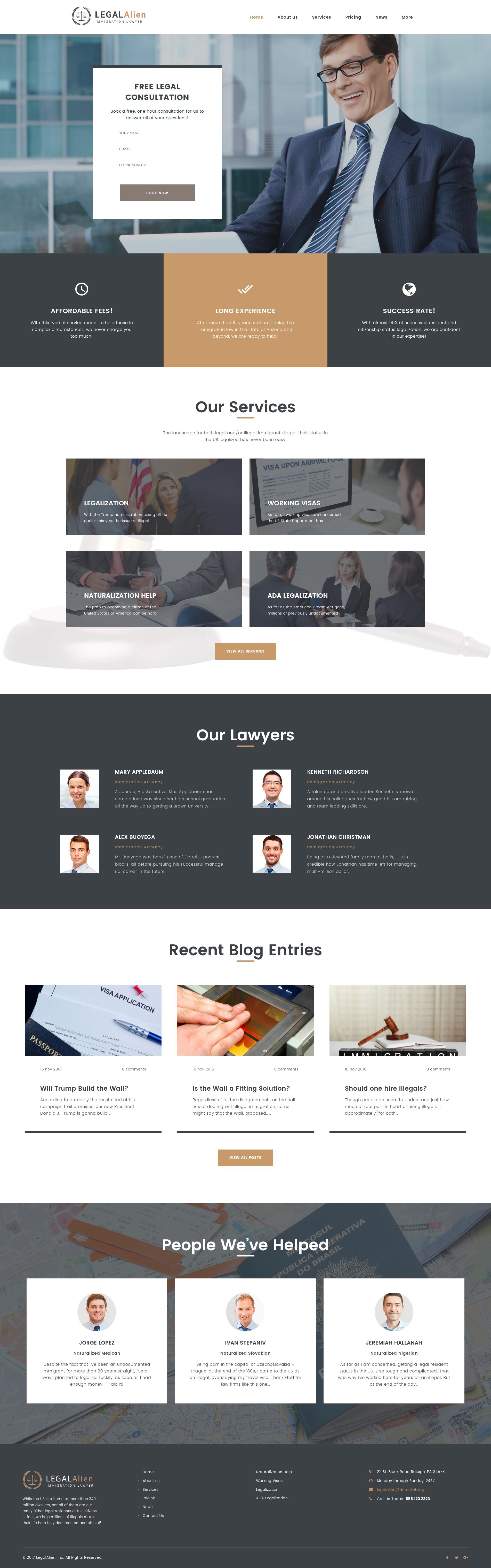 """""""Immigration Lawyer"""" - адаптивний WordPress шаблон №62384 - скріншот"""