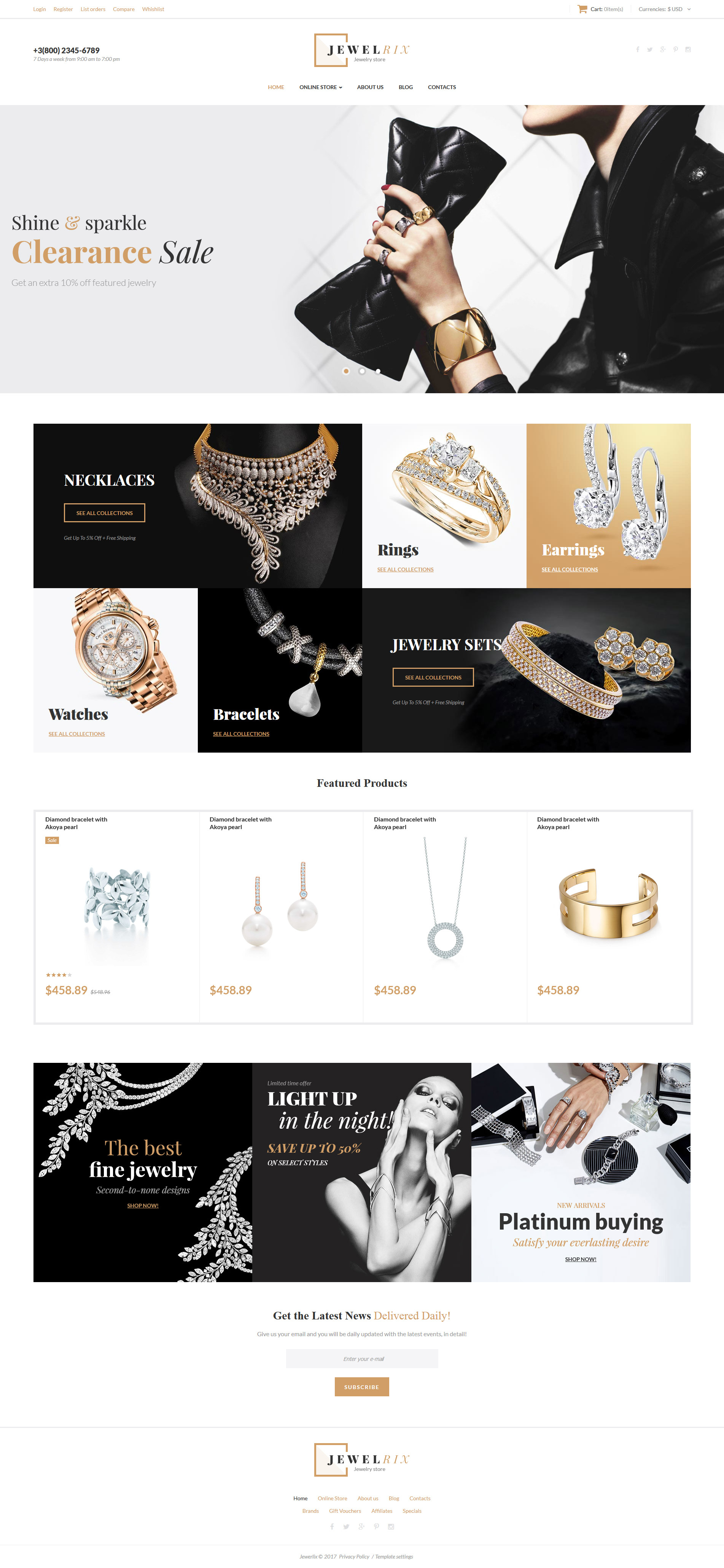 """Jewelrix - Jewelry Collection"" - VirtueMart шаблон №62374"