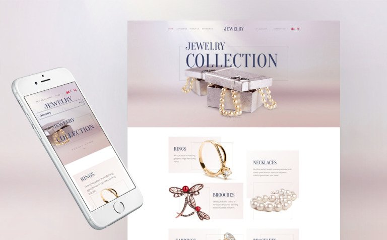 Jewelry Collection Responsive Shopify Template - Luxury presentation skills assessment form scheme