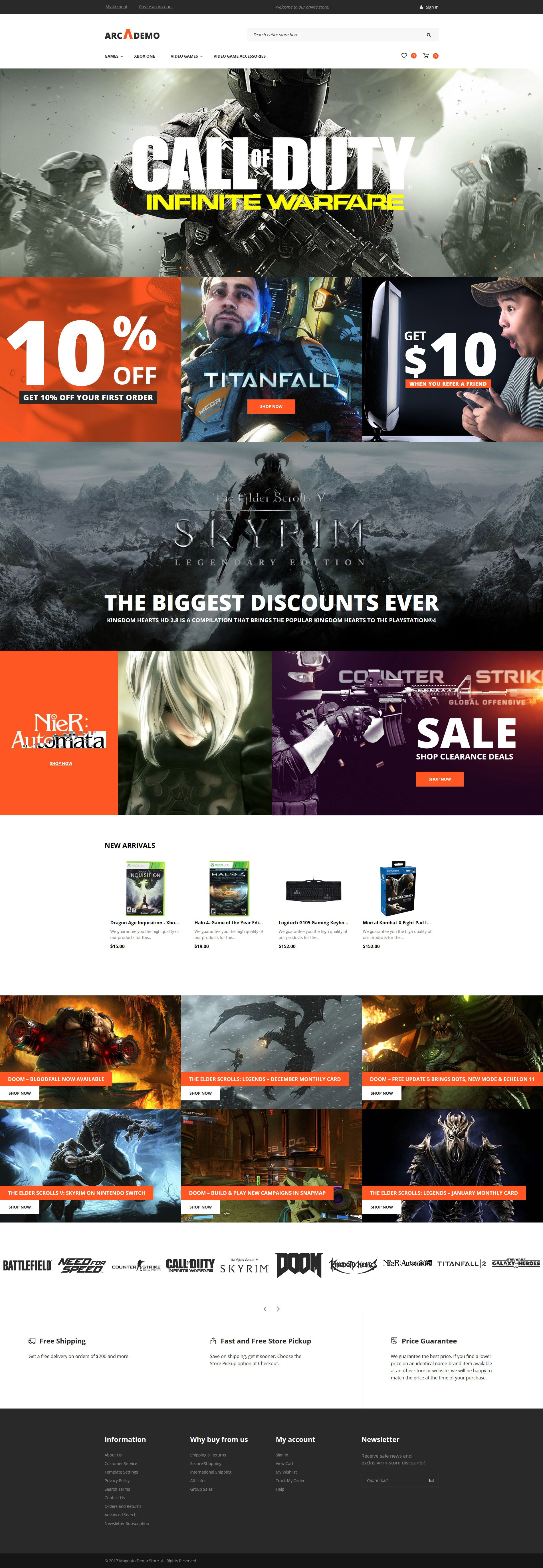 "Magento Theme namens ""Arcademo - Video Games Shop Responsive"" #62335"