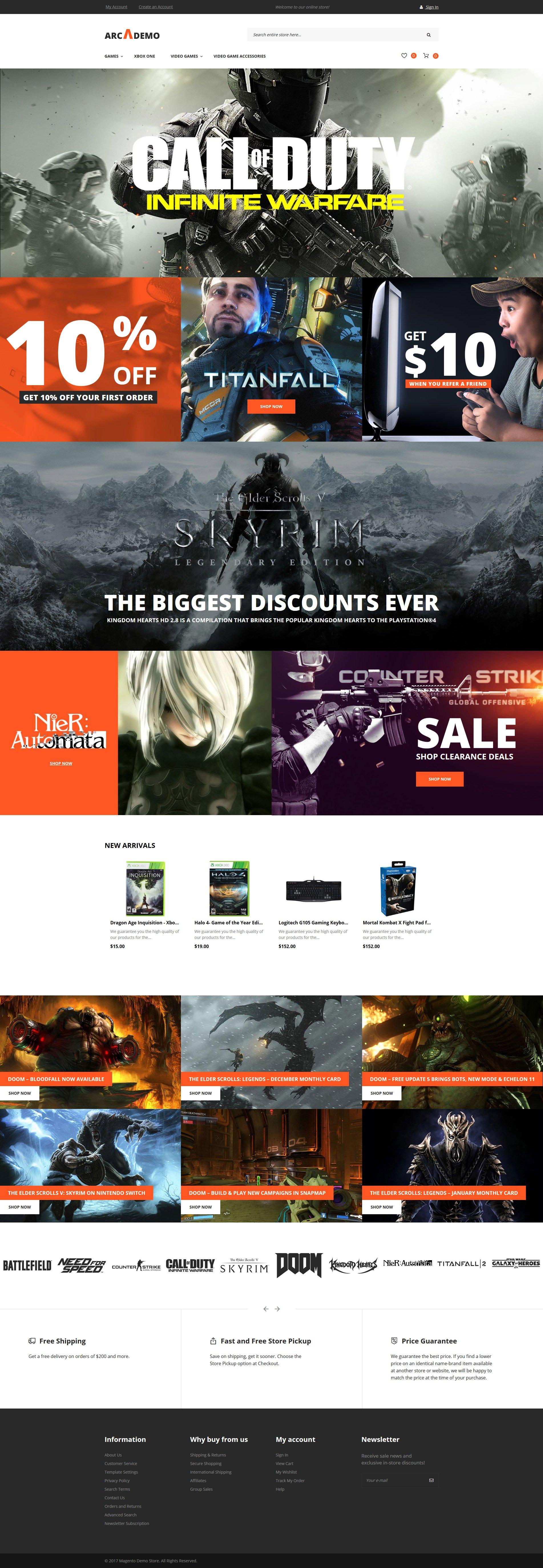 "Magento Theme namens ""Arcademo - Video Games Shop Responsive"" #62335"