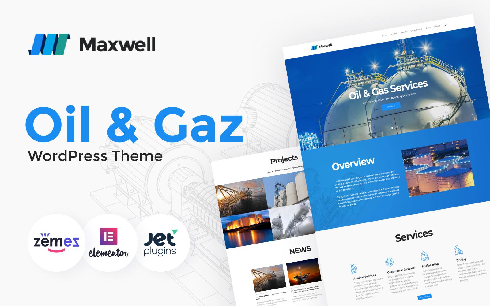"""Maxwell - Oil & Gas Company Responsive"" Responsive WordPress thema №62356"
