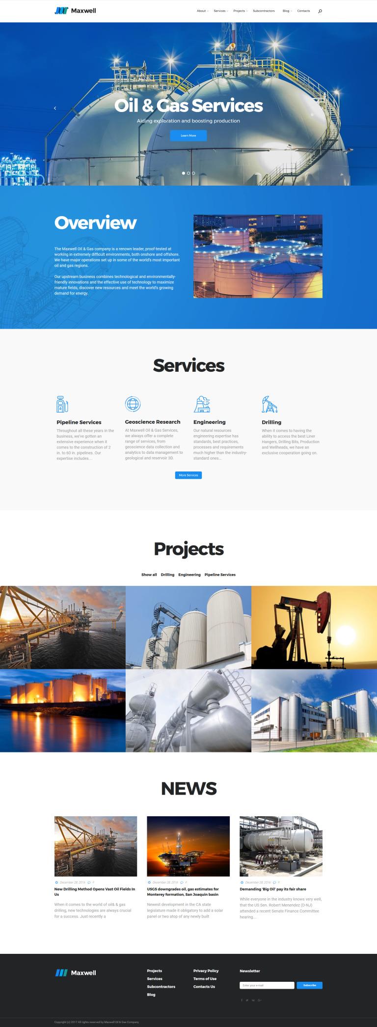 Maxwell - Oil & Gas Company Responsive WordPress Theme New Screenshots BIG