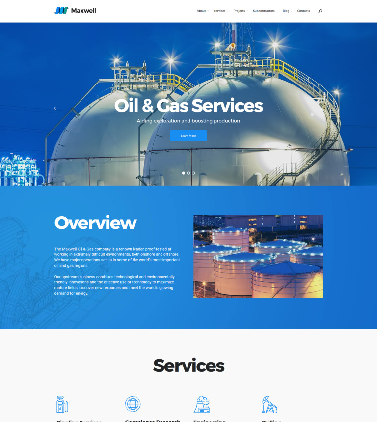 Oil and gas company wordpress theme maxwell oil gas company responsive wordpress theme new screenshots big toneelgroepblik Images